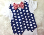 Stars and Stipes Vest Bodysuit: boys 4th of July outfit, star vest, 4th of July shirt, bow tie and vest set
