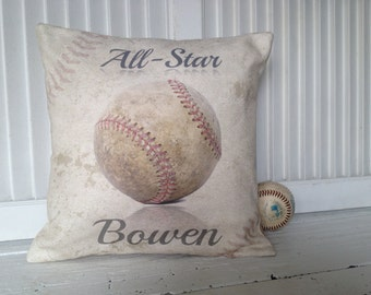 VINTAGE BASEBALL PERSONALIZED,Pillow,Insert Included