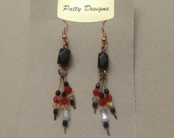 Earrings in onyx and Swarovski crystals