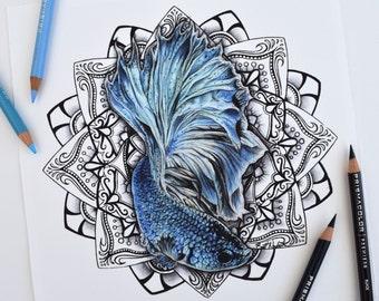 Betta Fish Mandala PRINT