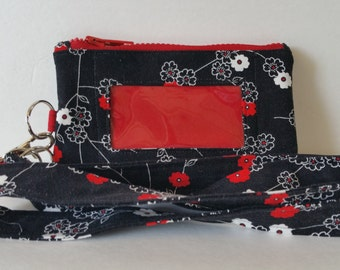 Black/Red/White Floral Zippered Phone Pouch with ID Window