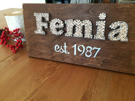Last name string art custom last name by northernwindtrade for Last name pictures architecture
