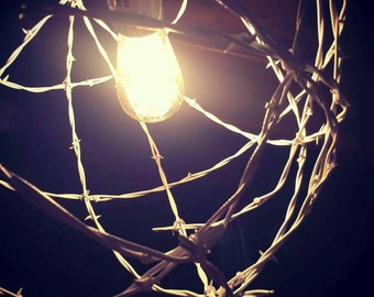 Handcrafted White Barbed Wire Sphere Light