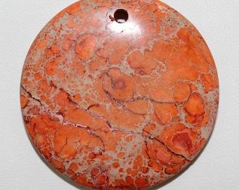 Round Impression Jasper Dyed Orange Pendant