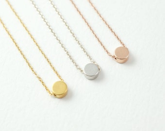 Simple Dot necklace - delicate coin necklace - everyday necklace