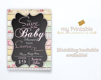 Save the Date Baby Shower / Digital Printable Invite / DIY Party