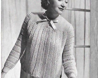 1940s Vintage Knitting Pattern - Womens bed jacket/Jumper to fit 34-36 inch chest- Instant Download