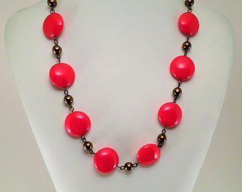 Red necklace | Red and hematite necklace | Birthday Gift | Fashion jewerly | Everyday necklace | Red Czech Glass Necklace