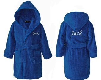 Personalised Children's Towelling Dressing Gown Bathrobe with Hood, Dark Blue
