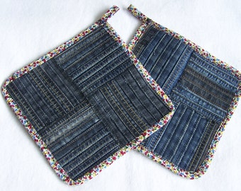 Denim Potholder - 2 pieces - also called pot trivet