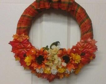 """Thanksgiving Wreath, Autumn Wreath, Fall Wreath, 12"""" Wreath"""