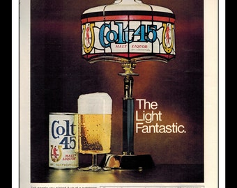 """Vintage Print Ad October 1969 : Beer - Colt 45 Malt Liquor """"The Light Fantastic"""" Wall Art Decor 8.5"""" x 11"""" Advertisement"""
