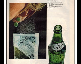 "Vintage Print Ad January 1968 : Sprite Soda Wall Art Decor 8.5"" x 11"" Advertisement"