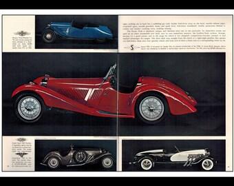 "Vintage Print Ad May 1969 : Morgan F-4 Frazer Nash 1935 Shelsley Automobile Car Art Decor 2 Page Spread 16"" x 11"" Print Advertisement"