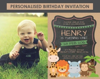 Printable Zoo Chalkboard Birthday Invitation, Zoo Invitation, 1st 2nd 3rd 4th 5th 6th Birthday, DIY Birthday Invitation, Birthday Invitation