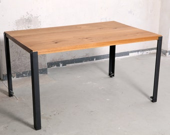 Table, kitchen table, dining table and desk of oak and steel legs