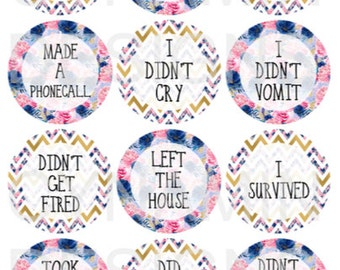 Spoonie Anxiety Floral Chevron Adulting Sticker Set | Erin Condren Horizontal Vertical Life Planner | Adult Life Stickers