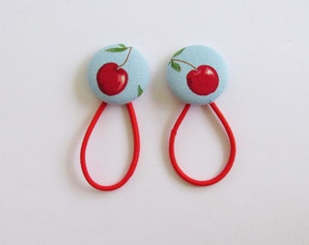 Blue Cherry Ponytail Band, Fabric Button Hair Band, Cherries Elastic Hair Tie, Elastic Band Ponytail Holder, Hair Accessory, EclectiKIDS