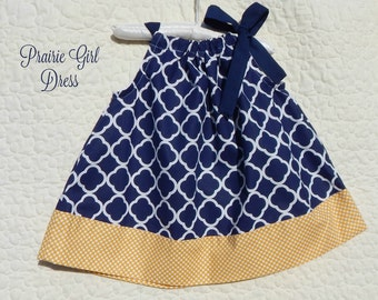Navy Girl Dress, Toddler Dress, Girls Clothing, Birthday Dress, Picture Outfit, Peasant Girl Dress