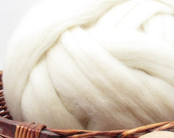 Kent Romney Wool Top Roving - Undyed Natural Spinning & Felting Fiber / 1oz