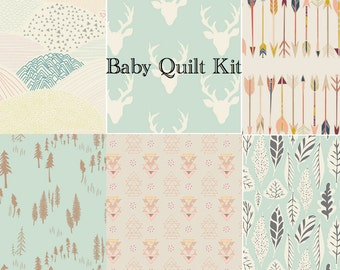 Baby Girl Woodland Quilt Kit, Quilting Cotton, Pre Cut Quilting Squares, Arrows, Mint Green, Bucks, Antlers, Deer Head, Arrows, Leaves