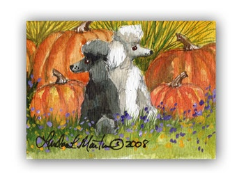 Black White Poodles Autumn Art by Linda  L Martin  ACEO Original Dog Watercolor Artwork LLMartin Fall