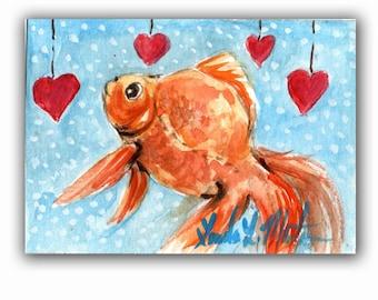 Goldfish Original ACEO Artwork Miniature  llmartin  Watercolor Fish Hearts