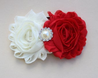 Red and ivory flower girl hair bow, Red hair clips, girls ivory hair clips, Red flower girl Hair clips, toddler hair clips, red and ivory