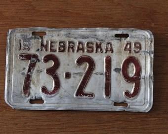 Nebraska 1949 license plate