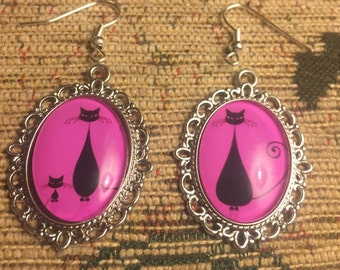 Black cat pink and silver dangly earrings