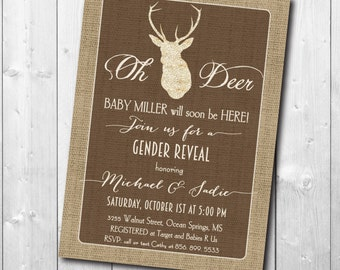 "Gender Reveal Invitation...""Oh Deer""/digital file or printing/wording can be changed"