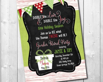 Holiday Gender Reveal Invitation for TWINS/ DIGITAL FILE / printable / wording can be changed