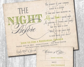 Beautiful Rehearsal Dinner Invitation with Choice of Entree or RSVP card to match/DIGITAL FILES/ printable /wording & colors can be changed