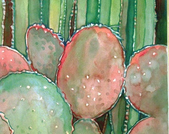 Cactus Garden Art Print/ Botanical Watercolor Limited Edition Giclee by Susan Faye