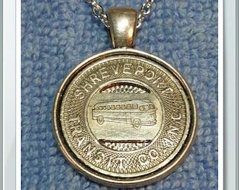 "Shreveport Louisiana Token Pendant Necklace With 24"" Chain"