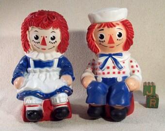 Original Raggedy Ann & Andy Coin Banks ~ 1970s