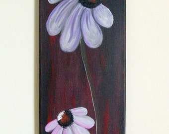 Flowers on a red-black background. Original abstract painting. Acrylics.