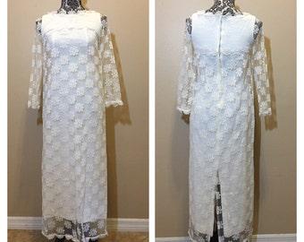 Vintage 1960s Lace Boho Wedding Dress