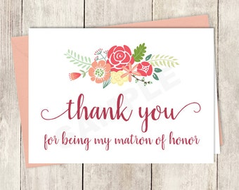 Thank You Card DIY Printable / For Being My Matron Of Honor /Rustic Flower Charm / Bright Pink, Red, Yellow Wildflowers ▷ Instant Download