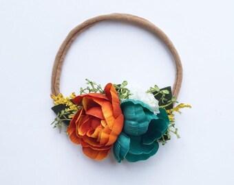 Pumkin Teal Flower headband