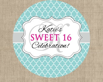 Sweet 16 Birthday Stickers, Custom Birthday Labels - Round Sweet 16 labels - Birthday Stickers - Birthday Candy Stickers - Monogram Stickers