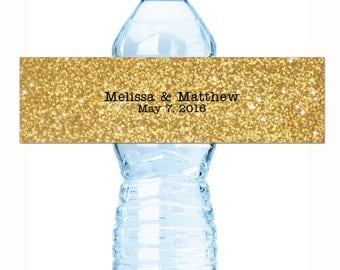 Wedding Water Bottle Labels, 30 Personalized Water Bottle Labels, Modern Gold Glitter Wedding Water Bottle Labels, Wedding Welcome Bags