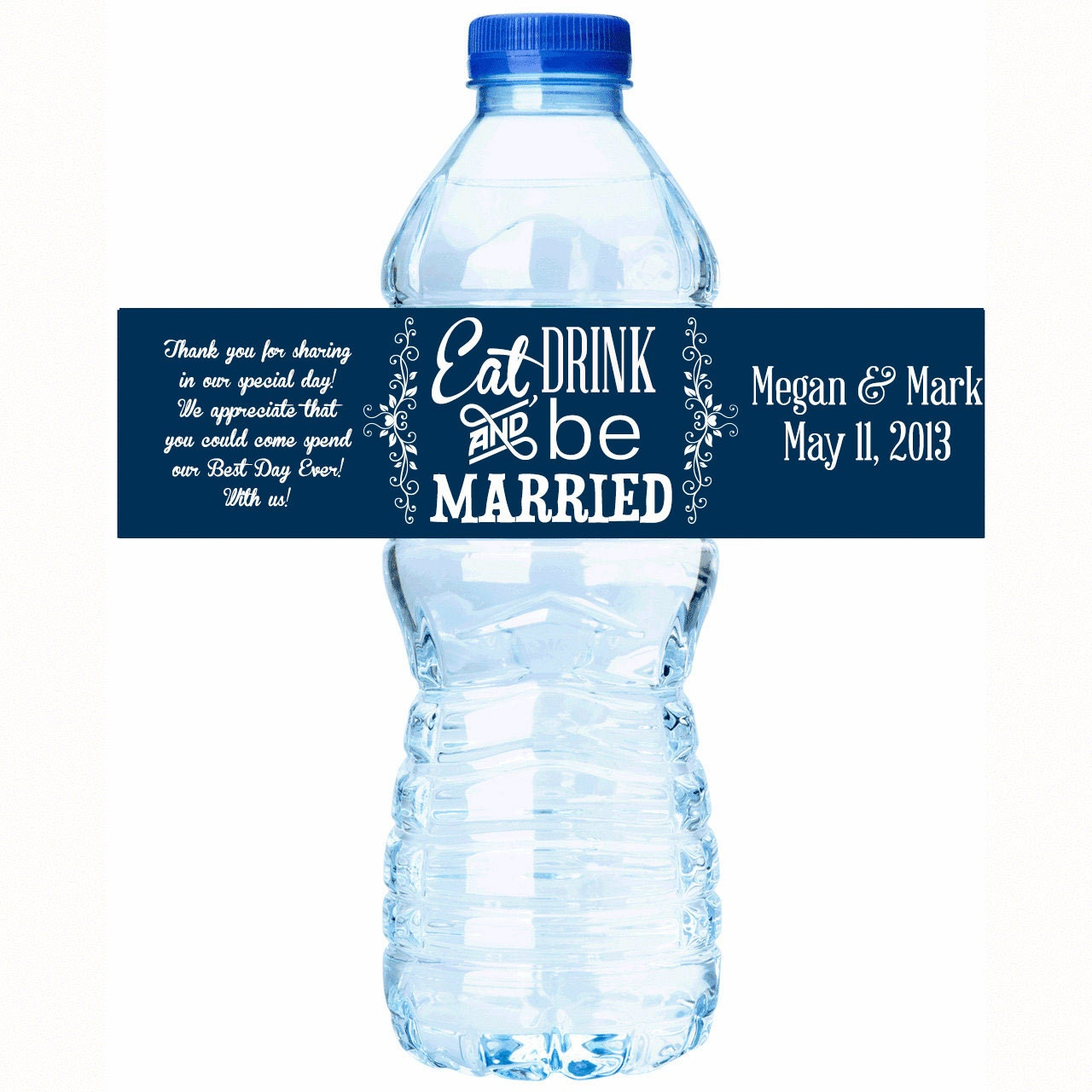 Eat drink and be married wedding water bottle labels for Decor water bottle