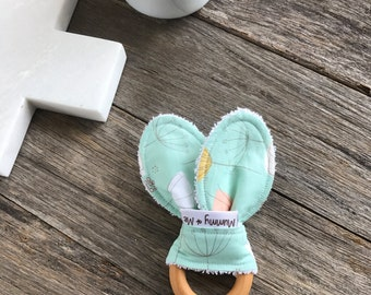 Bunny Blossom Teething Ring / Organic / Floral / Apricot / Mustard / Pastel / Wooden Toy / Natural / Timber Toy / Teether / Bunny Ear