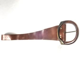 Belt vintage leather black wide belt made in France NEW! new! year 80