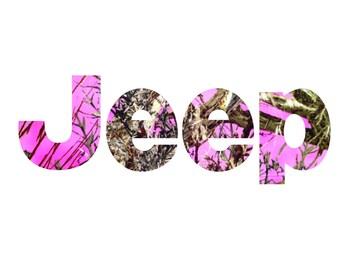 Custom Vinyl Decal Stickers - Jeep Pink Camo