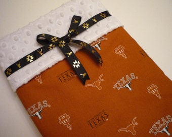 Minky Baby Blanket..handmade University of Texas blanket...burnt orange with longhorn print cotton..white dimple dot Minky back