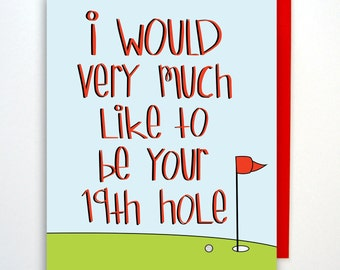 Funny Naughty Card, Birthday Card, Golf Card, Card, Anniversary Card, Card for Boyfriend, Card for Girlfriend,Card for Him, Love Card