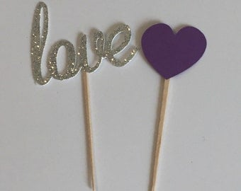 24 Heart and Love Cupcake Picks, Bridal Shower Cupcake Topper, Wedding Cupcake Toppers, Cupcake Toppers