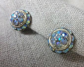Aurora Borealis Button Style Vintage Clip Earrings